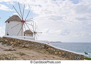 mykonos-greece, éoliennes