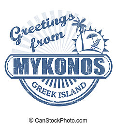 Grunge rubber stamp with text Greetings from Mykonos greek island, vector illustration