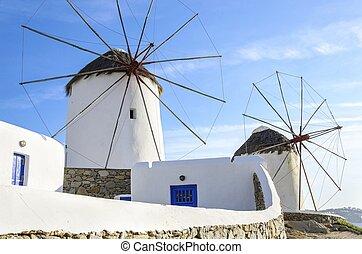 mykonos, griekenland, chora, windmolen