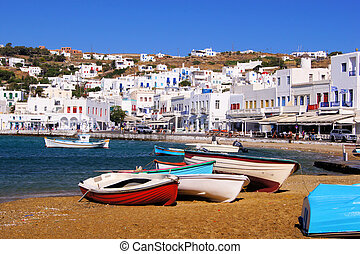 Mykonos town, view of the harbor, Greece