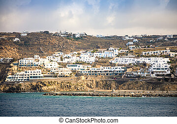 Mykonos island aerial panoramic view, part of the Cyclades, Greece