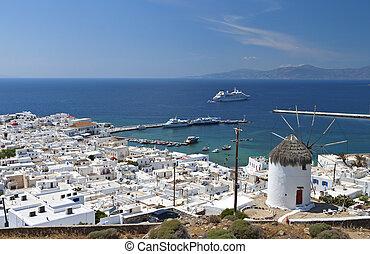 Mykonos island in Greece - Island of Mykonos at the Cyclades...