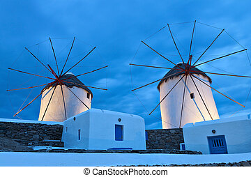 Mykonos island in Greece - The old traditional windmills of...