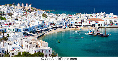 Mykonos island - Panorama of traditional greek village with ...