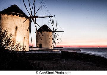 mykonos, molinos de viento, cyclades), (greece
