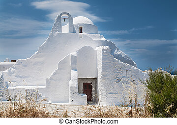 Church Panagia Paraportiani on the greek island Mykonos in the agean sea
