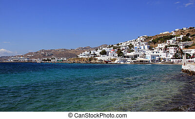Mykonos town and blue sea