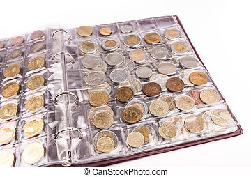 mynt, album, med, värld, mynter
