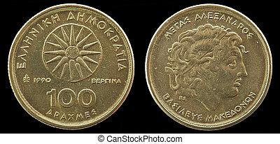 mynt, -, en, grekland, hundra, drahs