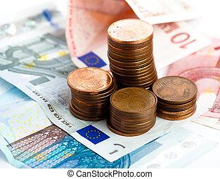mynt, förmögenhet, euro