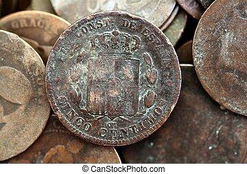 mynt, peseta, verklig, gammal, spanien, republik, 1937, valuta, och, center