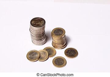 mynt, står hög, och, mynter
