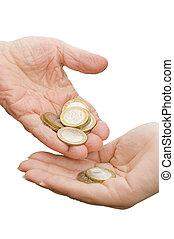 mynter, från, gammal, räcker, in, den, ung