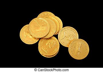 mynter, guld