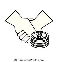 mynter, handslag, dollars, pengar
