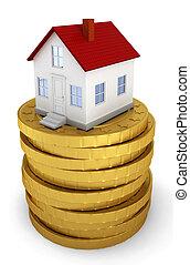mynter, hus, gyllene, stack