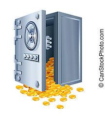 mynter, kassaskåp, öppna, guld