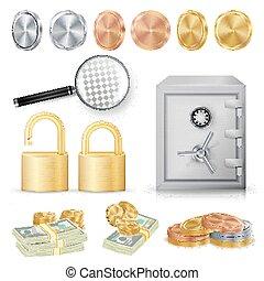 mynter, koppar, begrepp, kassaskåp, säkra, hänglås, pengar, buntar, metall, guld, sedlar, realistisk, glas., vector., kryptering, silver, förstorar
