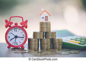 mynter, mini, begrepp, hus, stack, egenskap, investering