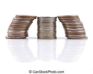 mynter, på, a, vit fond