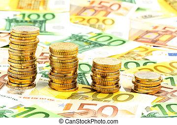 mynter, pengar, stjärnfall, stack, graf