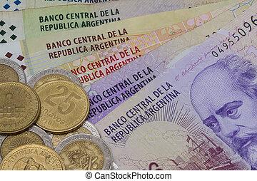 mynter, sedlar, olika, argentina