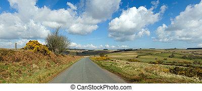 mynydd, panorama, kraj, uk., walia, wąski, epynt, droga