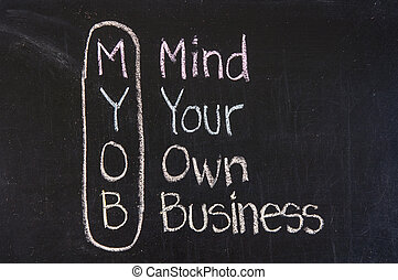 MYOB acronym Mind Your Own Business,Business concept ,color...