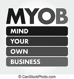 MYOB - Mind Your Own Business acronym, business concept ...
