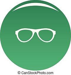 Myopic glasses icon vector green