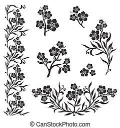 (myosotis), flores, gráfico, nomeolvides