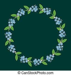 Myosotis forget-me-nots floral plant decor border wreath...