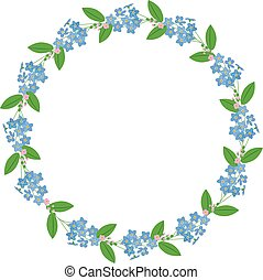 Myosotis forget-me-nots floral plant decor border wreath on white