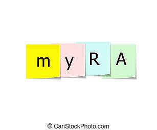 myra, sur, notes collantes