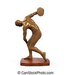 myron, estatua, aislado