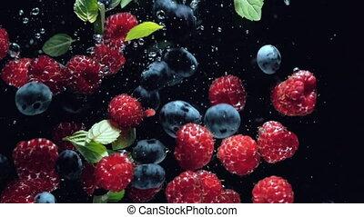 myrtilles, framboises, sain, irrigation, motion., fruits, manger, baies, arrière-plan., lent, noir, eau, fond, water., frais, automne, goutte, menthe, feuilles