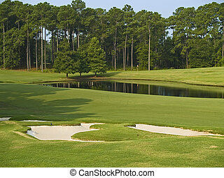 Myrtle Beach Golf - A nice view of a pond and some sand...