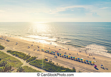 Myrtle Beach South Carolina aerial view at sunset