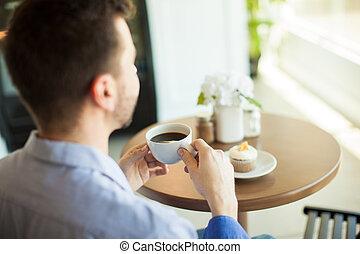 myself, desfrutando, café