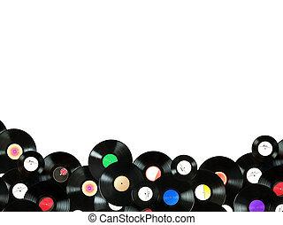 myself, gemacht, musikplatten, bunte, weinlese, abstrakt, etiketten, alles, freigestellt, hintergrund, musik, vinyl, hintergrund, weißes, aus, entworfen