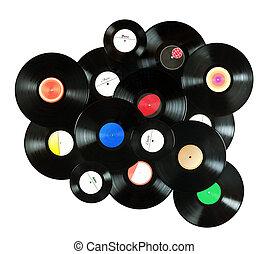 myself, hecho, registros, colorido, vendimia, resumen, etiquetas, todos, aislado, plano de fondo, música, vinilo, plano de fondo, blanco, encima, diseñado
