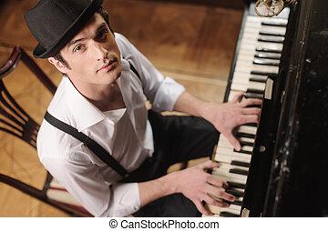 myself, music., punta la vista, el mirar joven, cámara, expresar, piano, hombre, juego, guapo