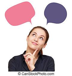 myslící, business eny, s, barva, thoughts, mračno, přes,...