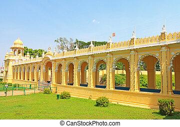 Mysore Palace Karnataka india - arched corridor in this huge...