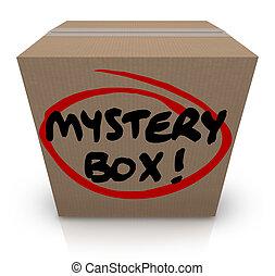 mystère, boîte, paquet, classifié, expédition, carton, contenu