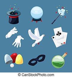 mystère, cylindre, magie, icônes, set., livre, baguette, vecteur, illustrations, surprise, dessin animé, magicien, style.