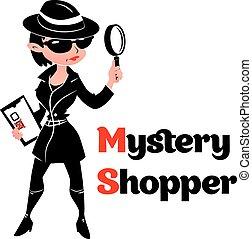 mystère, espion, femme, acheteur, manteau, noir, blanc