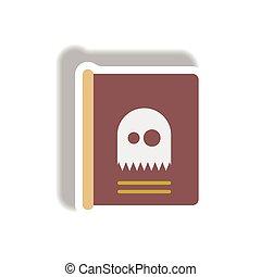mystère, fantôme, autocollant, halloween, illustration, papier, vecteur, livre, icône