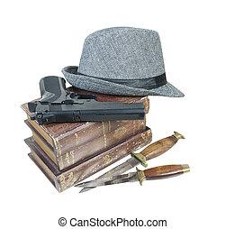 mystère, meurtre, fusil, livres, couteaux, chapeau