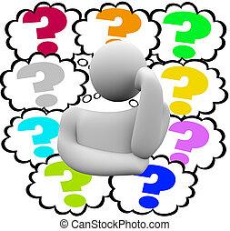 mystère, nuages, confusion, question, considérer, marque, pensée, penseur